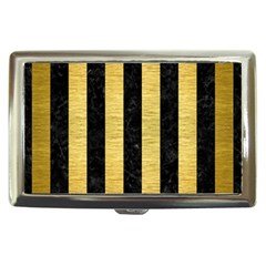 Stripes1 Black Marble & Gold Brushed Metal Cigarette Money Case by trendistuff
