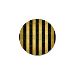 Stripes1 Black Marble & Gold Brushed Metal Golf Ball Marker (10 Pack) by trendistuff