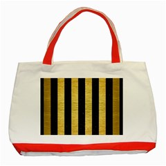 Stripes1 Black Marble & Gold Brushed Metal Classic Tote Bag (red) by trendistuff