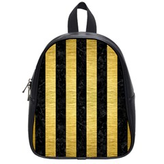 Stripes1 Black Marble & Gold Brushed Metal School Bag (small) by trendistuff