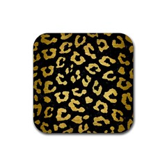 Skin5 Black Marble & Gold Brushed Metal (r) Rubber Square Coaster (4 Pack) by trendistuff