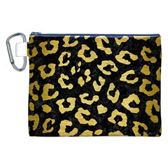 Skin5 Black Marble & Gold Brushed Metal (r) Canvas Cosmetic Bag (xxl) by trendistuff