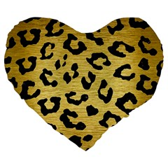Skin5 Black Marble & Gold Brushed Metal Large 19  Premium Flano Heart Shape Cushion by trendistuff
