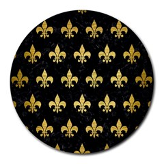 Royal1 Black Marble & Gold Brushed Metal (r) Round Mousepad by trendistuff