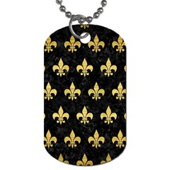 Royal1 Black Marble & Gold Brushed Metal (r) Dog Tag (two Sides) by trendistuff