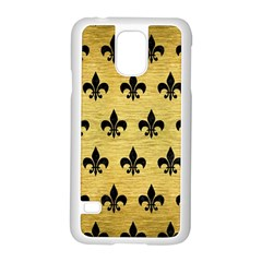 Royal1 Black Marble & Gold Brushed Metal Samsung Galaxy S5 Case (white) by trendistuff