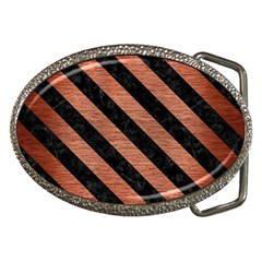 Stripes3 Black Marble & Copper Brushed Metal (r) Belt Buckle by trendistuff