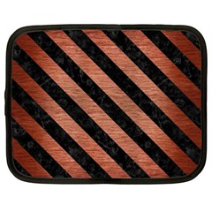Stripes3 Black Marble & Copper Brushed Metal (r) Netbook Case (xl) by trendistuff