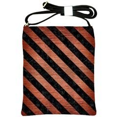 Stripes3 Black Marble & Copper Brushed Metal (r) Shoulder Sling Bag by trendistuff