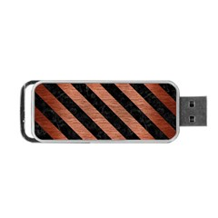 Stripes3 Black Marble & Copper Brushed Metal (r) Portable Usb Flash (one Side) by trendistuff