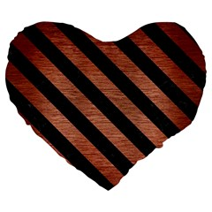 Stripes3 Black Marble & Copper Brushed Metal (r) Large 19  Premium Flano Heart Shape Cushion by trendistuff