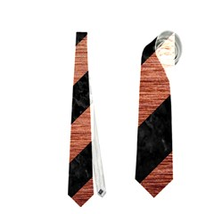 Stripes3 Black Marble & Copper Brushed Metal Necktie (one Side)