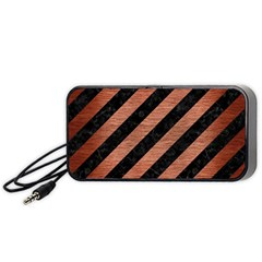 Stripes3 Black Marble & Copper Brushed Metal Portable Speaker (black) by trendistuff