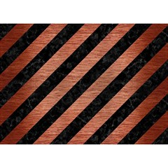 Stripes3 Black Marble & Copper Brushed Metal Birthday Cake 3d Greeting Card (7x5)