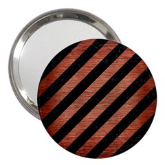 Stripes3 Black Marble & Copper Brushed Metal 3  Handbag Mirror by trendistuff