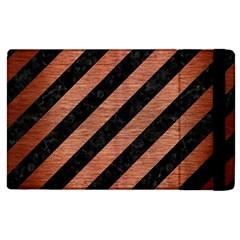 Stripes3 Black Marble & Copper Brushed Metal Apple Ipad 2 Flip Case by trendistuff