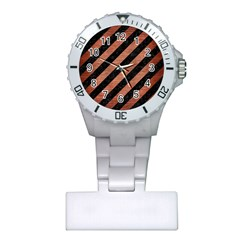 Stripes3 Black Marble & Copper Brushed Metal Plastic Nurses Watch by trendistuff