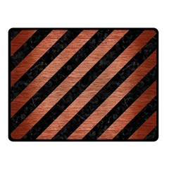 Stripes3 Black Marble & Copper Brushed Metal Double Sided Fleece Blanket (small) by trendistuff