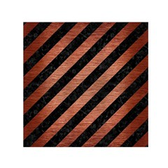 Stripes3 Black Marble & Copper Brushed Metal Small Satin Scarf (square) by trendistuff