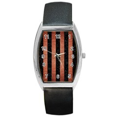 Stripes1 Black Marble & Copper Brushed Metal Barrel Style Metal Watch