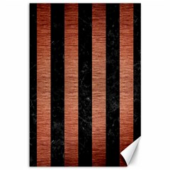 Stripes1 Black Marble & Copper Brushed Metal Canvas 12  X 18  by trendistuff