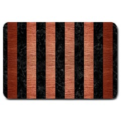 Stripes1 Black Marble & Copper Brushed Metal Large Doormat by trendistuff