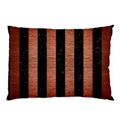 Stripes1 Black Marble & Copper Brushed Metal Pillow Case by trendistuff