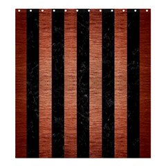 Stripes1 Black Marble & Copper Brushed Metal Shower Curtain 66  X 72  (large) by trendistuff