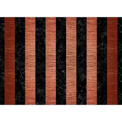 Stripes1 Black Marble & Copper Brushed Metal Birthday Cake 3d Greeting Card (7x5)