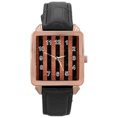Stripes1 Black Marble & Copper Brushed Metal Rose Gold Leather Watch  by trendistuff