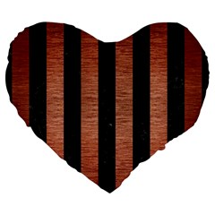 Stripes1 Black Marble & Copper Brushed Metal Large 19  Premium Flano Heart Shape Cushion by trendistuff