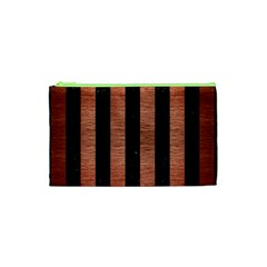 Stripes1 Black Marble & Copper Brushed Metal Cosmetic Bag (xs) by trendistuff