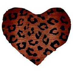 Skin5 Black Marble & Copper Brushed Metal Large 19  Premium Flano Heart Shape Cushion by trendistuff