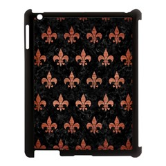 Royal1 Black Marble & Copper Brushed Metal (r) Apple Ipad 3/4 Case (black)
