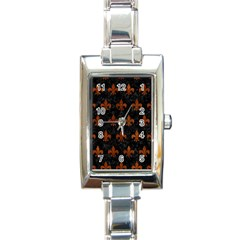 Royal1 Black Marble & Brown Burl Wood (r) Rectangle Italian Charm Watch by trendistuff