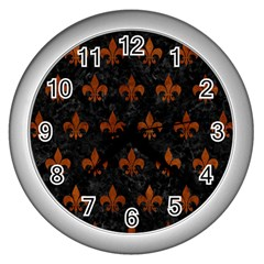 Royal1 Black Marble & Brown Burl Wood (r) Wall Clock (silver) by trendistuff