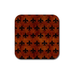 Royal1 Black Marble & Brown Burl Wood Rubber Square Coaster (4 Pack) by trendistuff