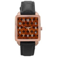 Royal1 Black Marble & Brown Burl Wood Rose Gold Leather Watch  by trendistuff