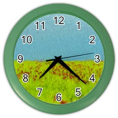 Poppy IV Color Wall Clocks by colorfulartwork