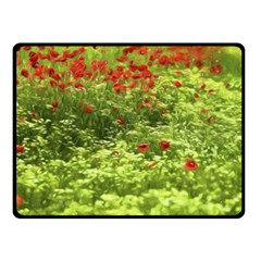 Poppy V Double Sided Fleece Blanket (small)  by colorfulartwork