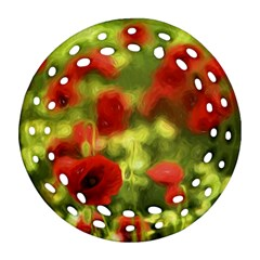Poppy Vi Ornament (round Filigree)  by colorfulartwork