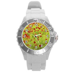 Poppy Viii Round Plastic Sport Watch (l) by colorfulartwork