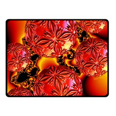 Flame Delights, Abstract Crimson Red Fire Fractal Fleece Blanket (small) by DianeClancy