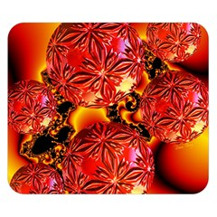 Flame Delights, Abstract Crimson Red Fire Fractal Double Sided Flano Blanket (small)  by DianeClancy