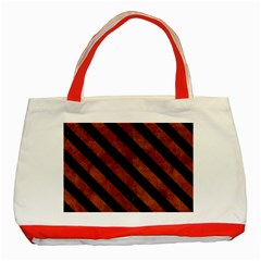 Stripes3 Black Marble & Brown Burl Wood (r) Classic Tote Bag (red) by trendistuff