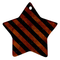 Stripes3 Black Marble & Brown Burl Wood (r) Star Ornament (two Sides) by trendistuff