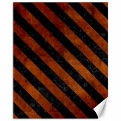 Stripes3 Black Marble & Brown Burl Wood (r) Canvas 11  X 14