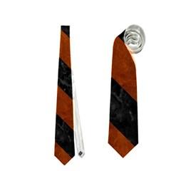 Stripes3 Black Marble & Brown Burl Wood (r) Necktie (one Side)