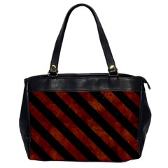 Stripes3 Black Marble & Brown Burl Wood (r) Oversize Office Handbag by trendistuff