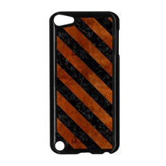 Stripes3 Black Marble & Brown Burl Wood (r) Apple Ipod Touch 5 Case (black) by trendistuff